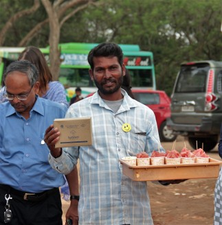 Street Vendor with Heartfulness Food Packet